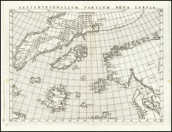 84-Polar Maps, Atlantic Ocean, Scandinavia and Iceland Map By Girolamo Ruscelli