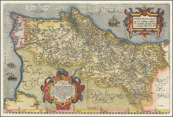 13-Portugal Map By Abraham Ortelius