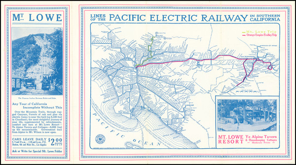 26-California and Los Angeles Map By D.W. Pontius / Pacific Electric Railway