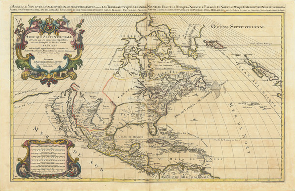 58-North America and California as an Island Map By Alexis-Hubert Jaillot