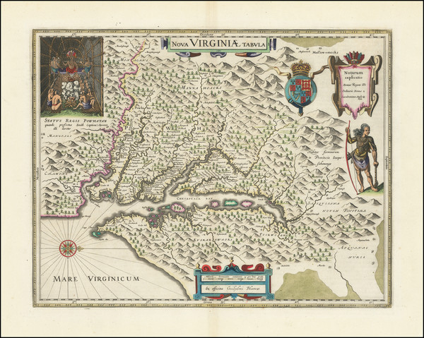 21-Mid-Atlantic, Delaware, Southeast and Virginia Map By Willem Janszoon Blaeu