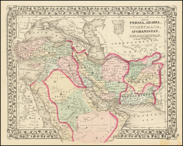 65-Persia and Turkey & Asia Minor Map By Samuel Augustus Mitchell Jr.