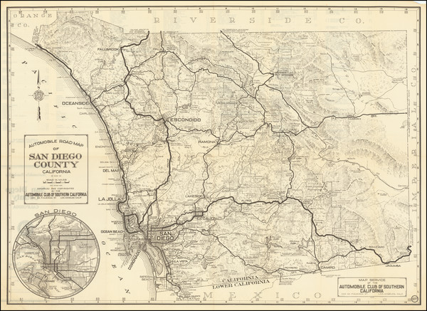 59-California and San Diego Map By Automobile Club of Southern California
