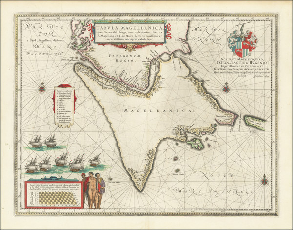 60-Polar Maps, Argentina and Chile Map By Willem Janszoon Blaeu