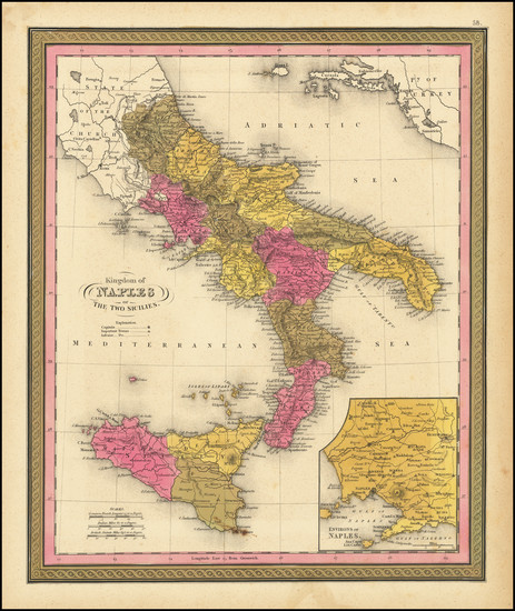 55-Southern Italy and Sicily Map By Henry Schenk Tanner