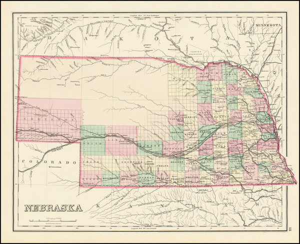 100-Nebraska Map By O.W. Gray
