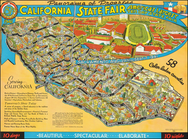 8-Pictorial Maps and California Map By California State Printing Office