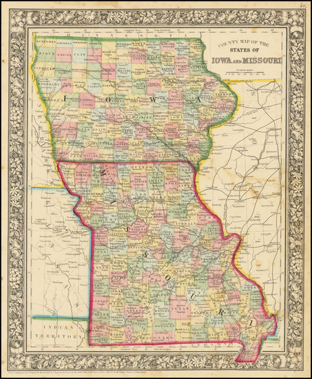 74-Iowa and Missouri Map By Samuel Augustus Mitchell Jr.