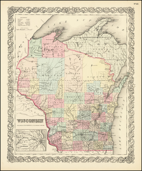 70-Wisconsin Map By Joseph Hutchins Colton