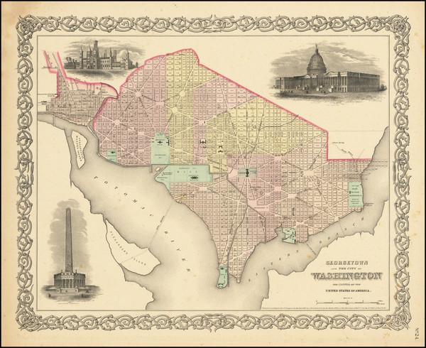 19-Washington, D.C. Map By Joseph Hutchins Colton