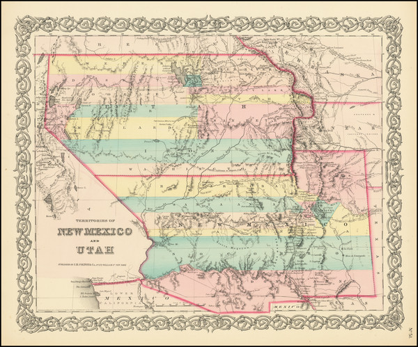 69-Arizona, Colorado, Utah, Nevada, New Mexico, Colorado and Utah Map By Joseph Hutchins Colton