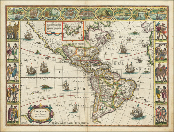 27-Western Hemisphere, North America, South America and America Map By Willem Janszoon Blaeu