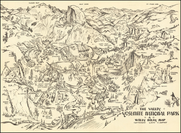 64-Pictorial Maps and Yosemite Map By C. Barnes