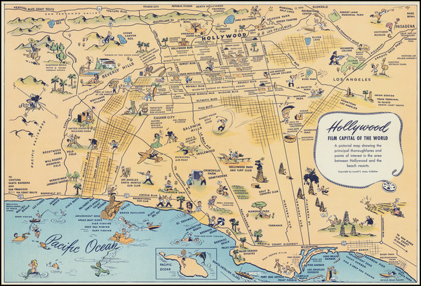 0-Pictorial Maps and Los Angeles Map By Lowell E. Jones