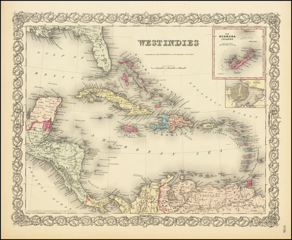 49-Caribbean Map By Joseph Hutchins Colton