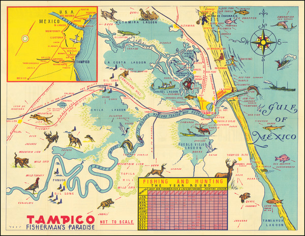 41-Mexico and Pictorial Maps Map By Comite Local Pro-Turismo De Tampico