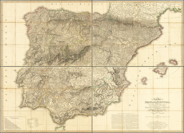 65-Spain and Portugal Map By William Faden