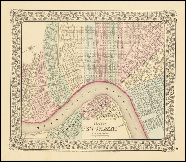 28-Louisiana and New Orleans Map By Samuel Augustus Mitchell Jr.