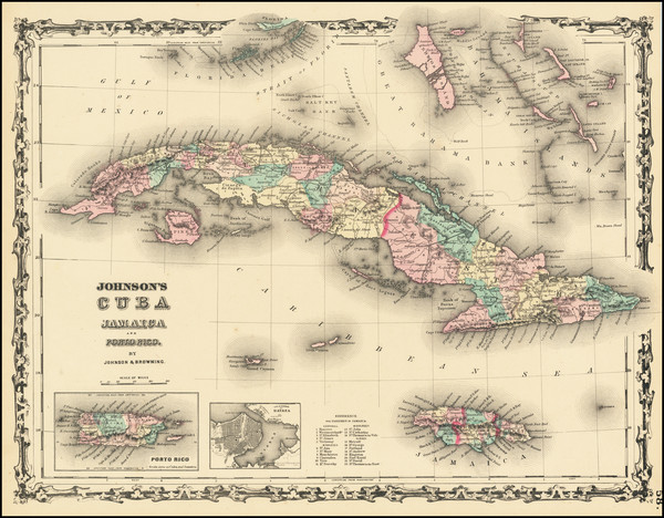 38-Caribbean and Cuba Map By Benjamin P Ward  &  Alvin Jewett Johnson