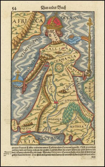 55-Europe and Comic & Anthropomorphic Map By Sebastian Munster