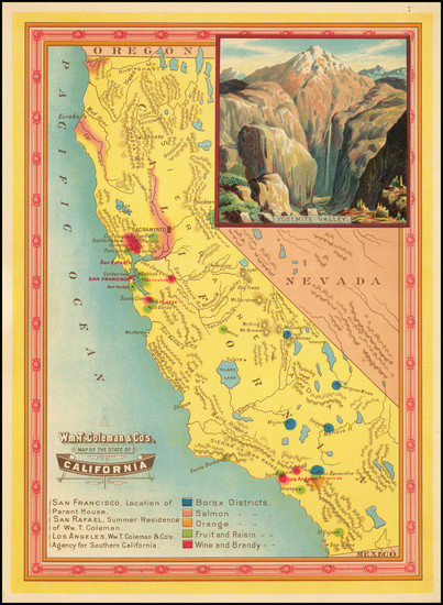 88-Oregon, Washington, Pictorial Maps and California Map By William Tell Coleman