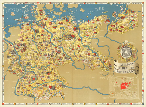 7-Germany, Pictorial Maps and World War II Map By Riemer