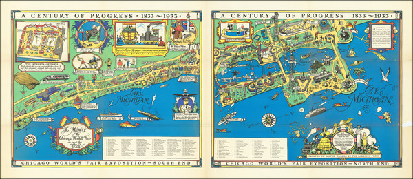7-Illinois, Pictorial Maps and Chicago Map By Tony Sarg