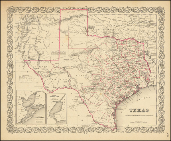 72-Texas Map By Joseph Hutchins Colton