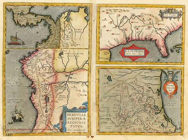 38-South, Southeast, Texas and South America Map By Abraham Ortelius