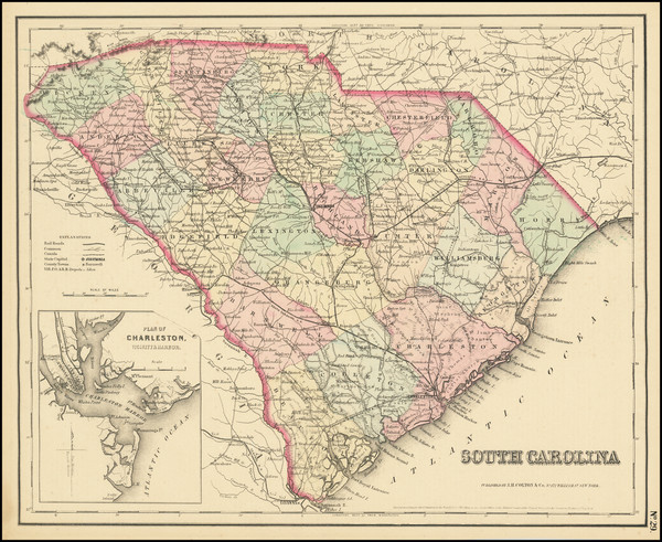 37-South Carolina Map By Joseph Hutchins Colton