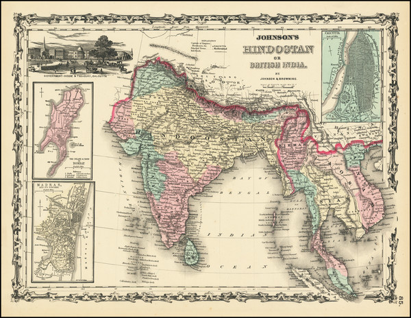 49-India and Southeast Asia Map By Alvin Jewett Johnson  &  Browning
