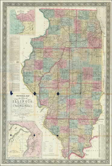 1-Illinois Map By John Mason Peck  &  John Messinger  &  A. J. Mathewson
