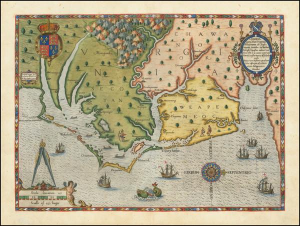 49-Mid-Atlantic, Southeast, Virginia and North Carolina Map By Theodor De Bry / John White