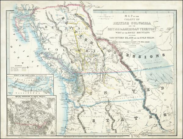 97-Idaho, Oregon, Washington, Western Canada and British Columbia Map By James Wyld