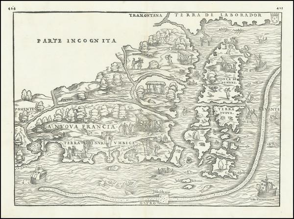 61-New England, Maine and Canada Map By Giovanni Battista Ramusio / Giacomo Gastaldi
