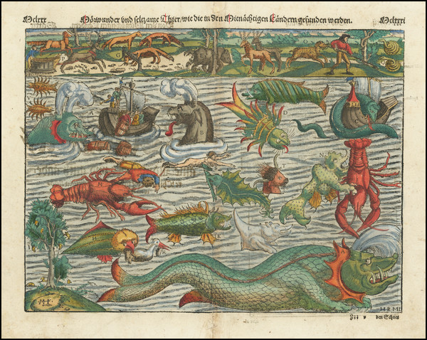 74-Curiosities Map By Sebastian Munster