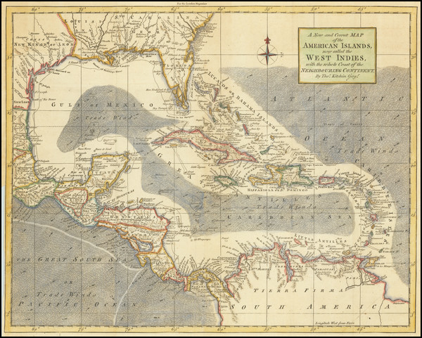 81-Florida, Southeast and Caribbean Map By Thomas Kitchin / London Magazine