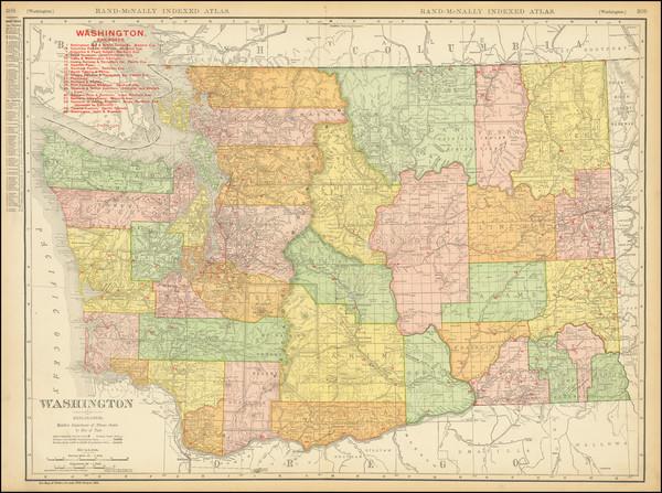 93-Washington Map By Rand McNally & Company
