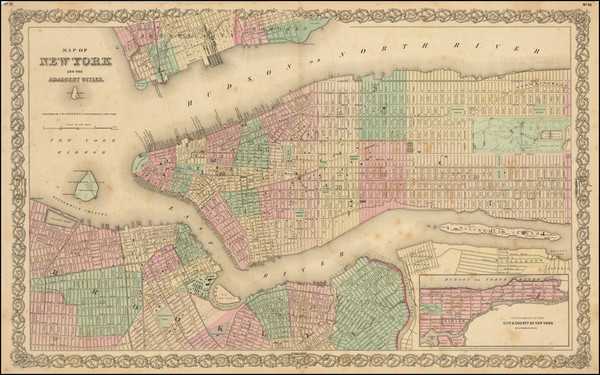 24-New York City Map By Joseph Hutchins Colton