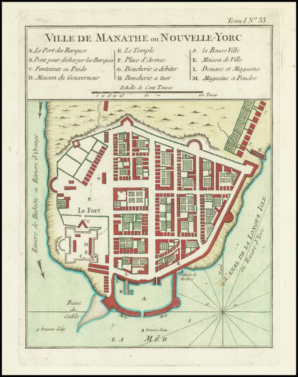 33-New York City Map By Jacques Nicolas Bellin