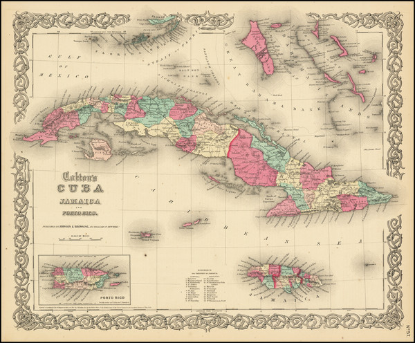 48-Cuba and Bahamas Map By Joseph Hutchins Colton