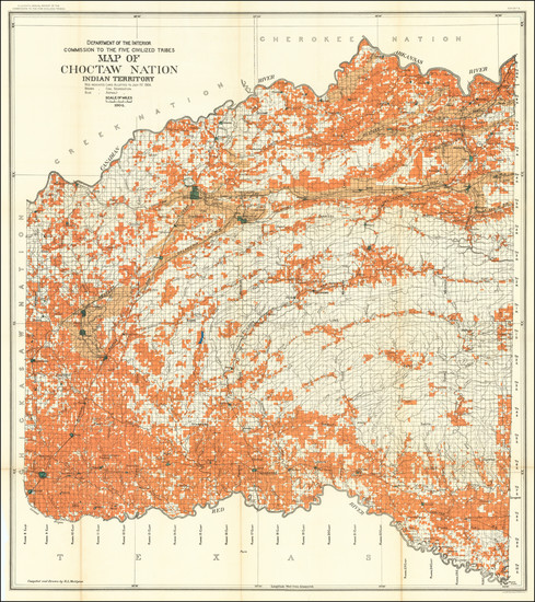 85-Oklahoma & Indian Territory Map By United States Department of the Interior