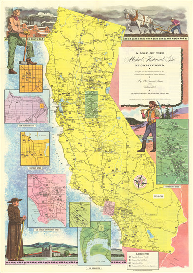 67-Pictorial Maps and California Map By Automobile Club of Southern California