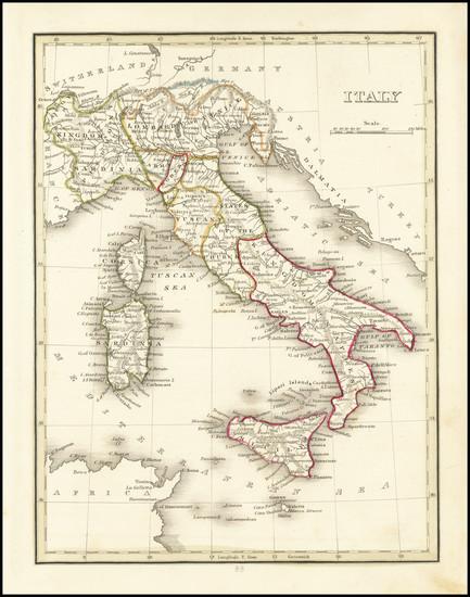 13-Italy Map By Thomas Gamaliel Bradford