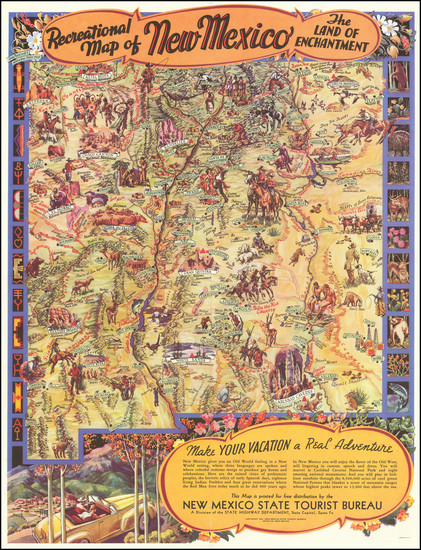 61-New Mexico and Pictorial Maps Map By Wilfred Stedman