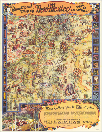 62-New Mexico and Pictorial Maps Map By Wilfred Stedman