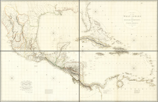 53-Florida, Southeast, Texas, Southwest, Mexico and Caribbean Map By Aaron Arrowsmith