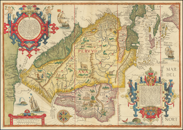 73-Polar Maps, Caribbean, Central America, South America and Brazil Map By Jan Huygen Van Linschot