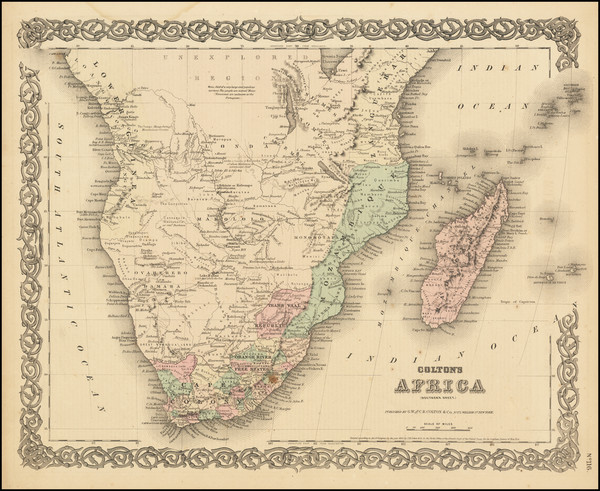 83-South Africa Map By G.W.  & C.B. Colton