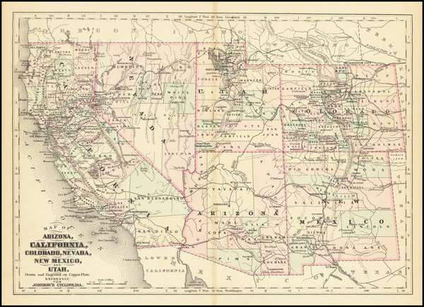 66-Arizona, Colorado, Utah, Nevada, New Mexico, Colorado, Utah and California Map By Alvin Jewett